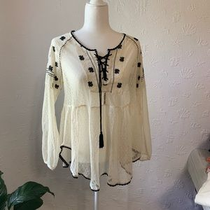 Free people lace shirt with black trim size M